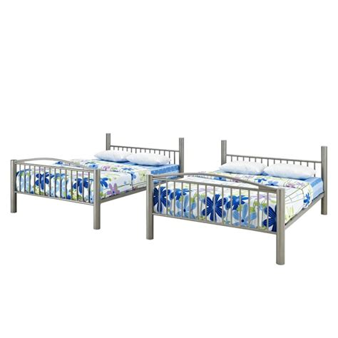 full over full metal bunk beds powell heavy metal full over full bunk bed in pewter 941 137