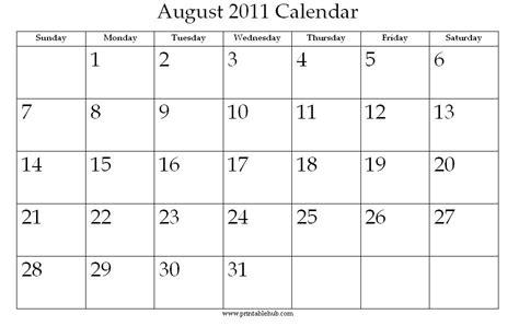 August 2011 Calendar August 2011 Printable Calendar 171 Printable Hub