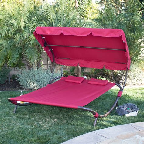 double chaise lounge with canopy new hammock bed lounger double chair pool chaise lounge