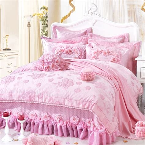 pink king comforter set lace ruffle yarn wedding bedding sets 111 roses duvet