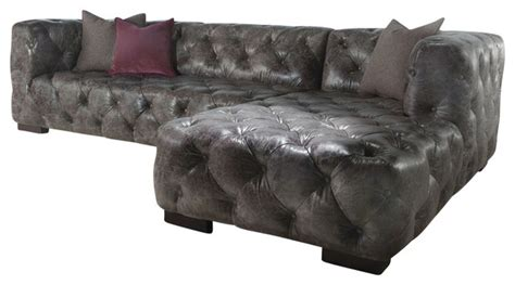 Gray Vintage Dublin Leather Chesterfield Sofa And Chaise Gray Leather Chesterfield Sofa