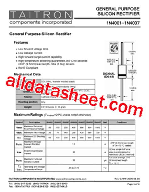 1n4004 diode pdf 1n4004 데이터시트 pdf taitron components incorporated