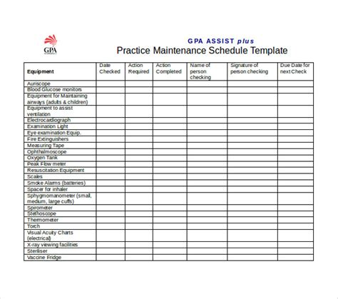 Free Preventive Maintenance Schedule Template Schedule Template Free Preventive Maintenance Schedule Template
