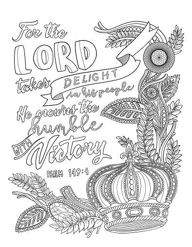 Psalm 149:4 Coloring Page - Spiritual Drawing 4 of 10