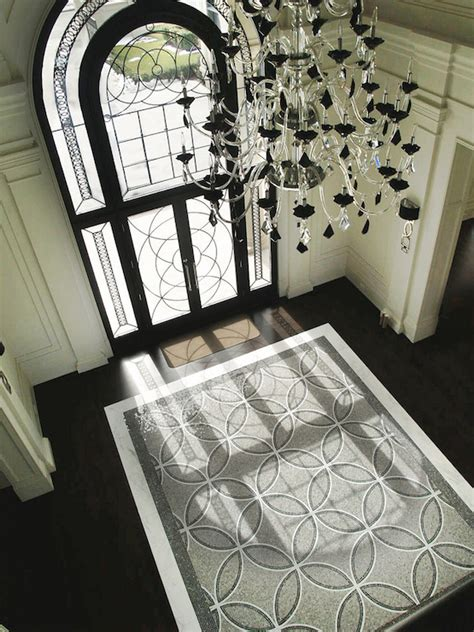 Front Foyer Tile Designs Mosaic Tile Rug Contemporary Entrance Foyer Terra Verre