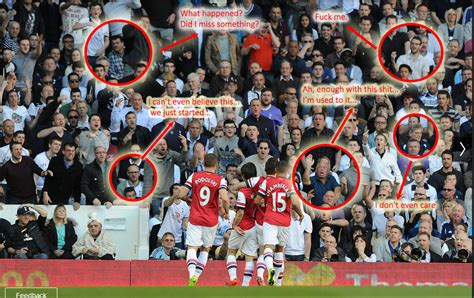arsenal yesterday goals arsenal fans place captions on spurs supporters reacting