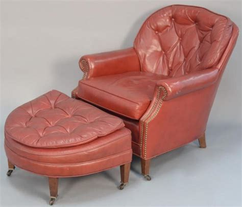 tufted leather chair with ottoman hickory craft red leather tufted club chair with ottoman
