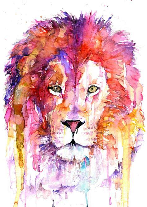 watercolor lion tutorial original lion watercolor art лев голова арт lion