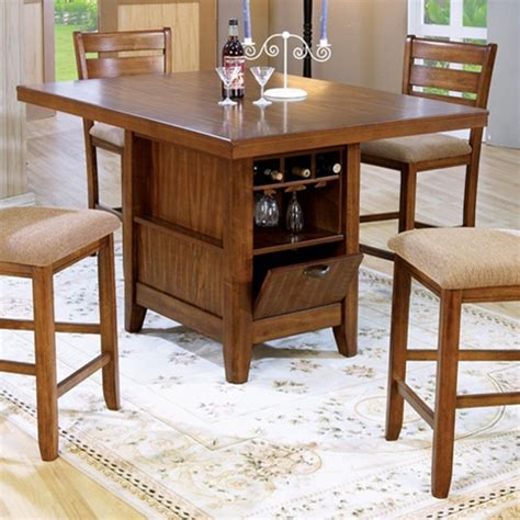 counter height kitchen island dining table counter height 5 piece dining table kitchen island set with wine rack in oak finish by coaster