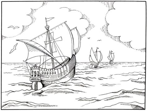 dibujo de las tres carabelas de cristobal col 243 n para - Los Barcos De Cristobal Colon Para Colorear