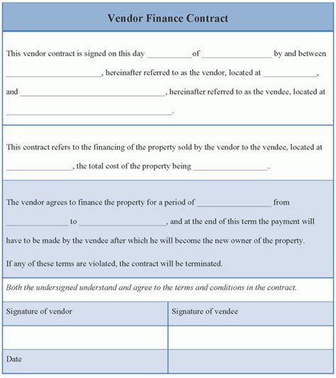 vendor agreement template contract contract template for vendor finance format of vendor
