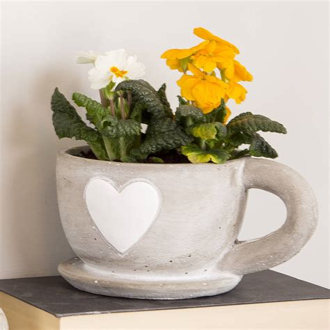 Whitewashed Teacup Planter With Heart Design By The Teacup Planter