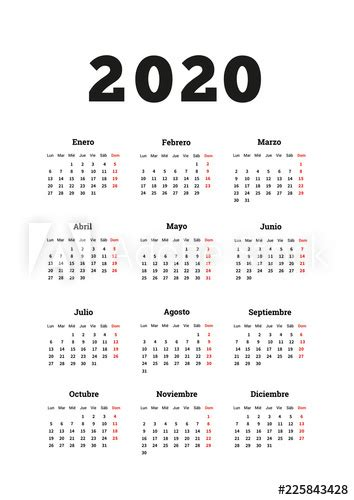 year simple calendar  spanish  size vertical sheet isolated  white buy  stock