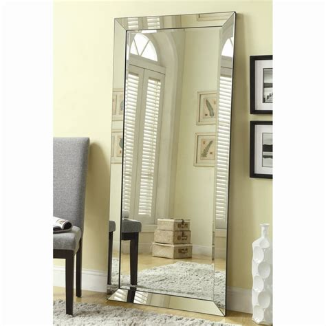 shop coaster fine furniture silver beveled frameless floor mirror at lowes com