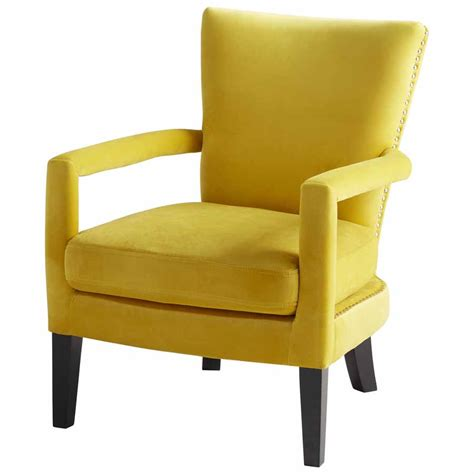 mustard velvet accent chair retro yellow velvet arm chair with nail cushioned siding