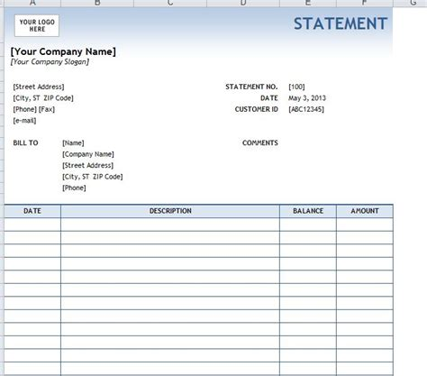 templates for business statements billing statement template