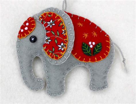 Handmade Ornaments - felt elephant ornament handmade elephant by puffinpatchwork