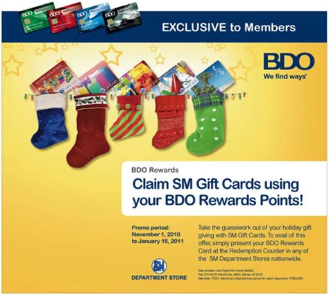 Bdo Giveaways - get sm gift cards from bdo rewards philippine contests and promos