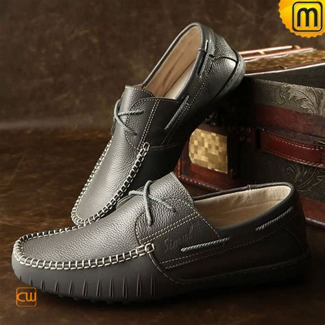 Handmade Driving Shoes - handmade grey leather driving shoes for cw740108