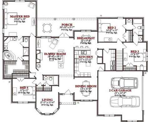 four bedroom house plans lovely 4 bedroom floor plans for a house home plans
