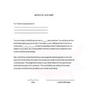 Letter From Landlord To Tenant For Late Rent Late Rent Notice 7 Free Sles Exles Format