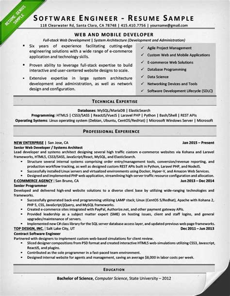 resume format for year experienced software engineer pdf software engineer resume exle writing tips resume genius