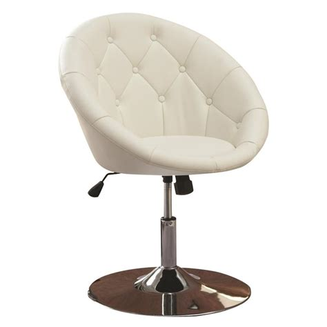 Round Tufted Faux Leather Swivel Accent Chair In White Tufted Swivel Chair