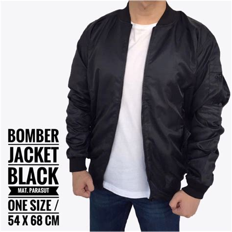 Jaket Parasut Shopee jaket bomber army pria cowok casual warna hitam bomber