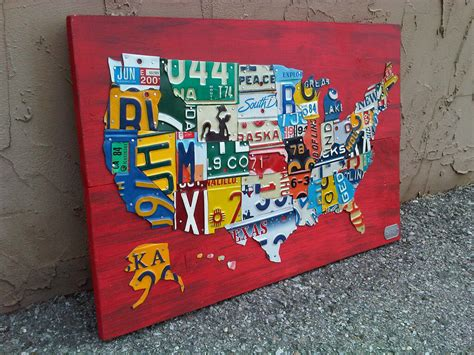 usa map license plates license plate map of the united states metal artwork