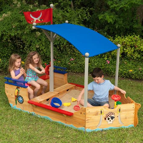Kids Pirate Boat Sand Pit & Play Bench   Kids Outdoor Play