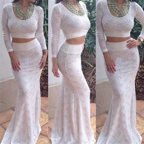 Maxi Ayuna White Set 2in1 white lace bodycon prom dress crop top skirt two set cocktail pelpum