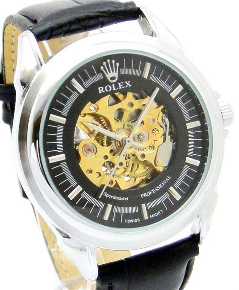Rolex Skeleton Leather Black malaysia shopping auction lelong