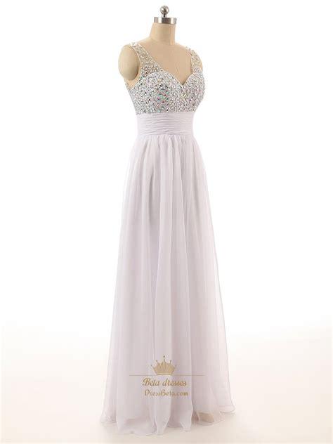 white beaded dress white beaded bodice sheer straps chiffon prom dress with v
