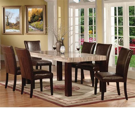 Dreamfurniture Com Fraser Faux Marble Top Dining Table Set Marble Dining Room Table Set
