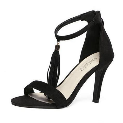 strappy black sandals high heels black tasseled strappy high heel sandals