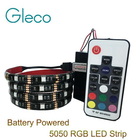 Battery Powered Led Light Strips With Remote Battery Powered 5050 Rgb Led Light Rgb 1m 2m Ip20