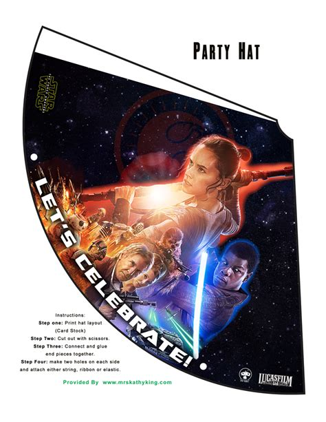 printable star wars hat free star wars the force awakens printable party