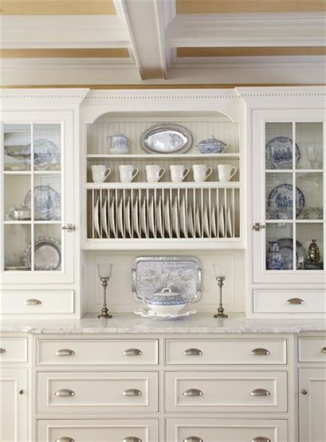Kitchen Cabinet Plate Organizers Traditional Kitchen With White Cabinets And A Plate Rack To Show The Transferware Dishes