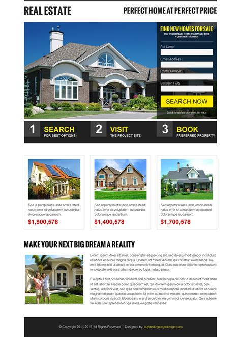 Real Estate Selling Leads Res Lp 005 Real Estate Responsive Landing Page Design Preview Real Estate Landing Page Template Free