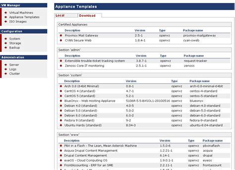 proxmox openvz templates simpleinvoices deployment screenshots proxmox ve