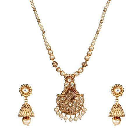 0219c6 Kalung Fashion Choker Key Pearl Pendant Decorated Layer 1 buy new style pearl kundan gold plated necklace set