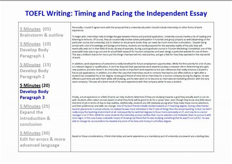 toefl ibt writing sle essays toefl ibt essay writing timing and pacing for the