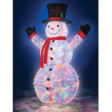the illuminated 6 foot pop up snowman hammacher schlemmer