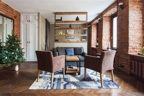 studio apartment living room studio apartment stays authentic by keeping its brick