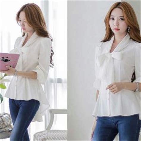 Atasan Wanita Blouse Tunik Putih Pascal Lengan Panjang Jumbo Xl baju atasan blouse wanita magenta cantik modis model terbaru murah