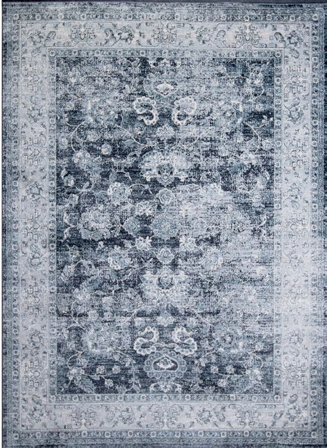 Distressed Blue Rugs - rugs navy blue traditional washed area rug distressed