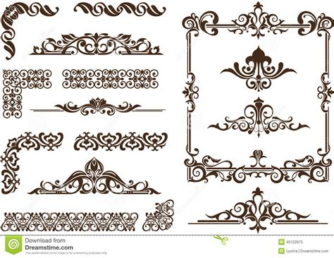 Modern Art Deco Architecture by Vector Ornaments Frames Corners Borders Stock Vector