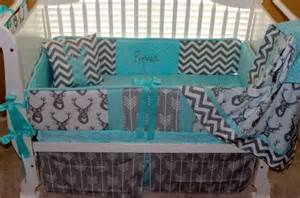 custom baby bedding 6 pc set woodland deer forest lodge aqua blue and grey pink accents