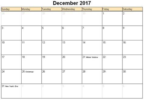 printable calendar december 2017 word december 2017 printable calendar template holidays excel