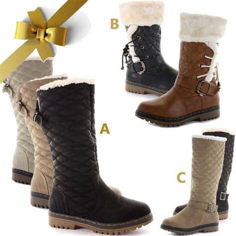 womens flat knee high calf quilted fur lined